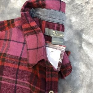 Natural Reflections Tops - Burgundy Multi Plaid Lightweight Flannel Shirt NWT